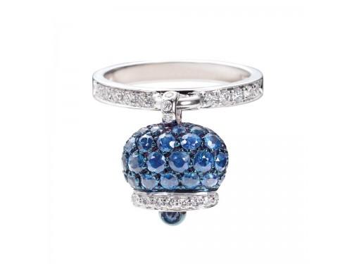 Le Campanelle Chantecler Anello in oro bianco e brunito, diamanti e pavé di zaffiri blu