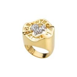 Anello Chantecler Anima 70 in oro giallo e diamanti con campanella in Turchese