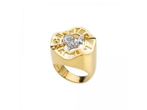 Chantecler Logo Anello Gallo in oro giallo e bianco e pavé di diamanti