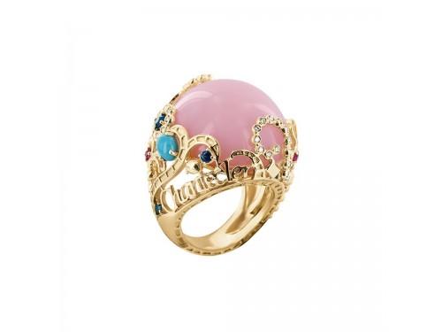 Chantecler Suamèm Anello in oro giallo con opale rosa cabochon e turchese, zaffiri, rubini, smeraldi e diamanti