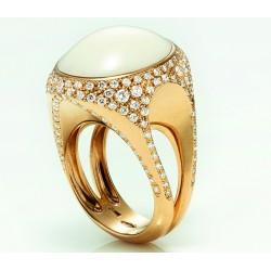 Anello Chantecler Bon Ton in oro bianco,diamanti e onice nera