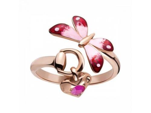 Anello Gucci Flora in oro rosa smalto colorato e rubini