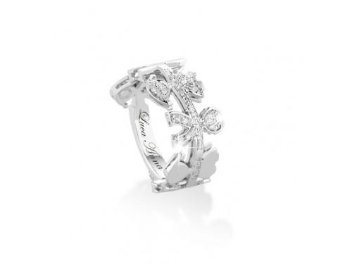 Anello in oro bianco Le Ghirlande Le Bebé maschietto e femminuccia con diamanti