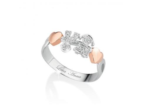 Anello in oro bianco e rosa i Gircuore Le Bebé Maschietto e Femminuccia con diamanti
