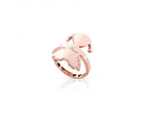 Anello gli abbracci Le Bebé femminuccia in oro rosa e diamanti