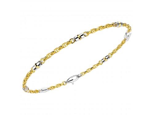 Bracciale uomo Zancan insigna in oro giallo inserti in oro bianco e diamante