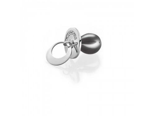 I Ciuccioli Gioielli ciondolo pendente ciuccio in argento e nero con collana 55 cm