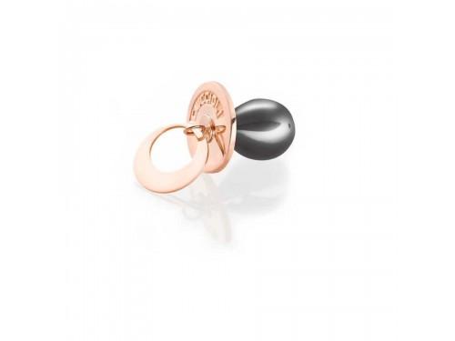 I Ciuccioli Gioielli ciondolo pendente ciuccio in argento pvd rosa e nero con collana lunga 55 cm