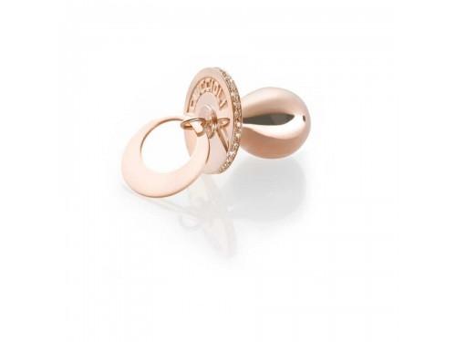 I Ciuccioli Gioielli ciondolo pendente ciuccio in argento pvc rosa con zirconi brillanti e collana da 55 cm