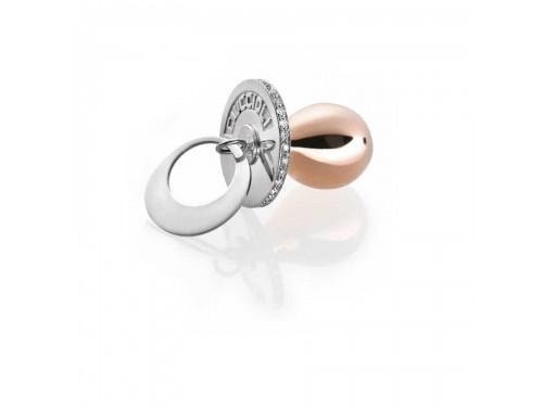 I Ciuccioli Gioielli ciondolo pendente ciuccio in argento e argento pvd rosa con zirconi brillanti e collana da 55 cm