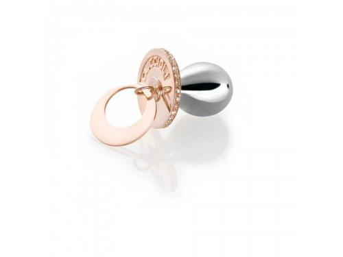 I Ciuccioli Gioielli ciondolo pendente ciuccio in argento pvd rosa e argento con zirconi e collana lunga 55 cm