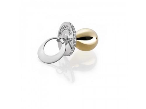 I Ciuccioli Gioielli ciondolo pendente Ciuccio in argento e oro giallo 18 carati con zirconi e collana da 55 cm