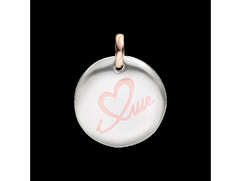 Ciondolo piccolo Queriot moneta di Civita in argento e oro rosa I Love Me