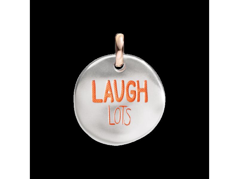 Ciondolo piccolo Queriot moneta di Civita in argento e smalto arancio Laugh Lots