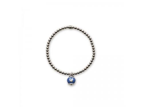 Bracciale in argento Chantecler Et Voilà con ciondolo campanella micro in smalto blu