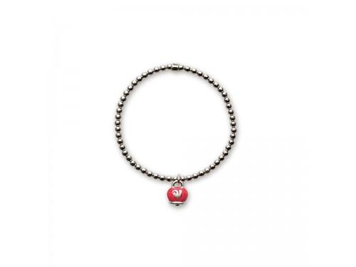 Bracciale in argento Chantecler Et Voilà con ciondolo campanella micro in smalto rosso