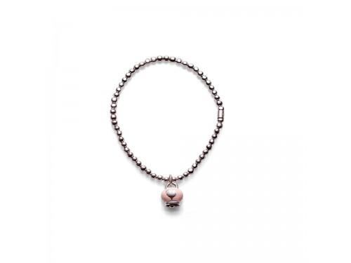 Bracciale in argento Chantecler Et Voilà con ciondolo campanella micro in argento e smalto rosa