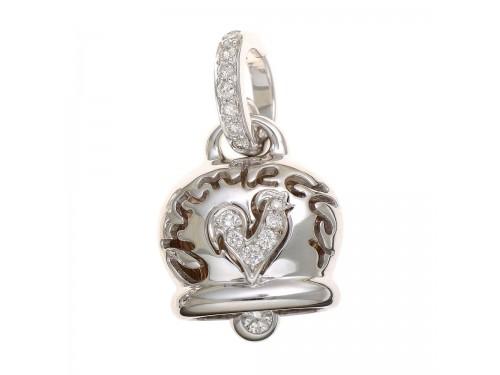 Ciondolo Chantecler Campanella media in oro bianco diamanti e gallo in pavé di diamanti