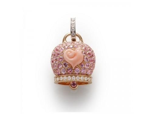 Ciondolo Chantecler Campanella grande in oro rosa e zaffiri rosa con galletto in corallo rosa