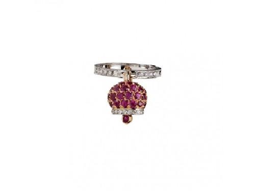 Anello Chantecler Campanella piccola in oro rosa e bianco, diamanti e pavé di rubini