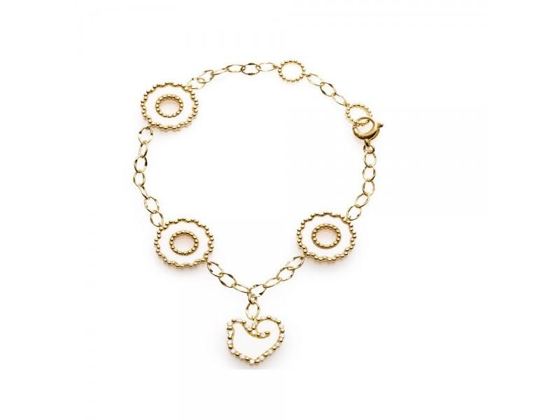 Bracciale Chantecler Anima 70 in oro giallo con quattro elementi in kogolong e diamanti