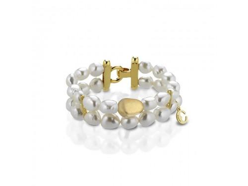 Bracciale Coscia 2 file di perle con chiusura in argento dorato Le Lune Glamour