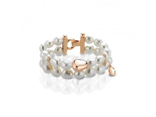 Bracciale Coscia 2 file di perle con chiusura in argento rosa Le Lune Glamour
