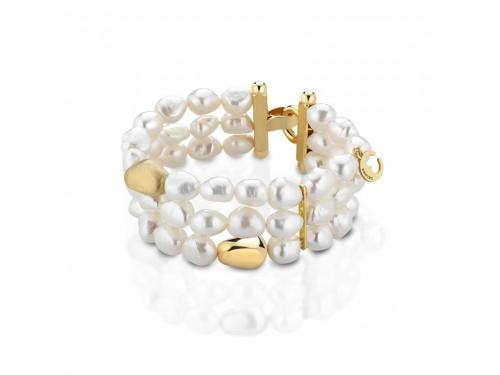 Bracciale Coscia 3 file di perle con chiusura in argento dorato Le Lune Glamour