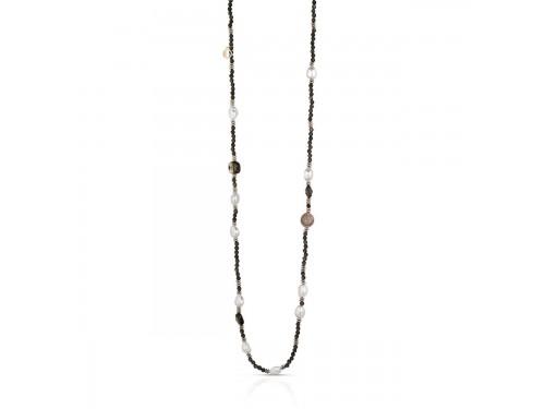 Collana in argento con perle,ematite rosa,quarzo,metalli e cristalli Coscia Le Lune Glamour