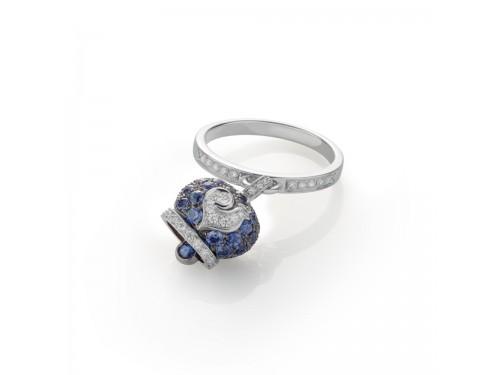 Anello Chantecler Capri campanella piccola in oro bianco brunito,zaffiri e diamanti