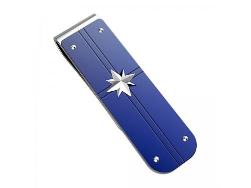 Fermasoldi Zancan Hiteck in acciaio PVD blu con Stella in acciaio