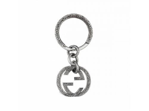 Portachiavi Gucci Interlocking in Argento con Doppia G Intrecciata