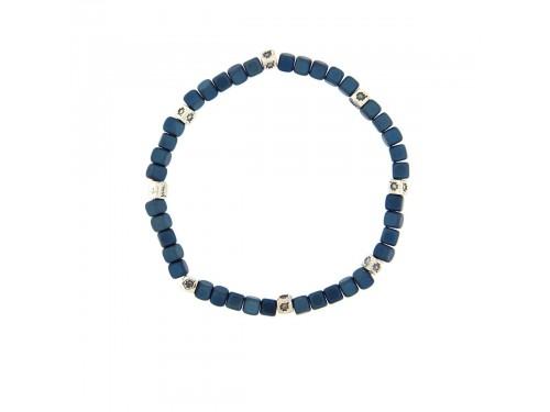 Bracciale elastico Rue Des Mille Maveric in argento ed ematite blu