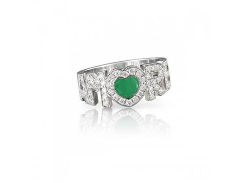 Anello Pasquale Bruni Amore in oro bianco con diamanti e smeraldo