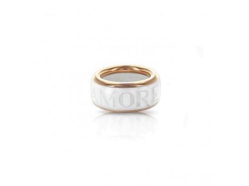 Anello a fascia Pasquale Bruni Amore in oro rosa e Ceramica Bianca