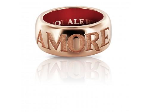 Anello a fascia Pasquale Bruni Amore in oro rosa smalto rosso