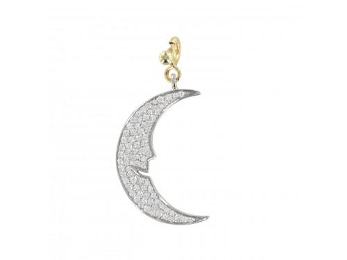 Ciondolo Pasquale Bruni Le Monde Luna in oro bianco e pavè di diamanti