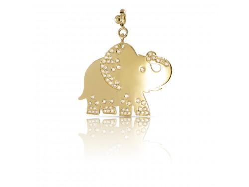 Ciondolo Pasquale Bruni Le Monde Elefante in oro giallo diamanti