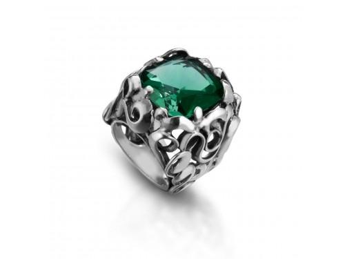 Anello Intrecci in argento Maresca Officine Orafe con Prasiolite Verde