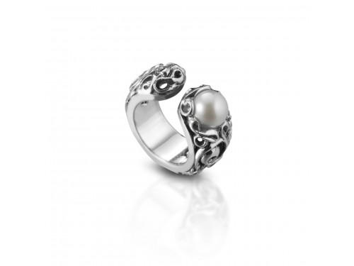 Anello Intrecci in argento Maresca Officine Orafe con Perla Bianca