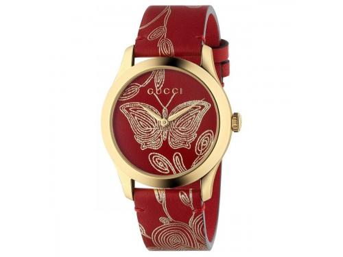 Orologio da Donna Gucci G-Timeless in Acciaio PVD Oro Giallo e Cinturino in Pelle con Motivo a Farfalla