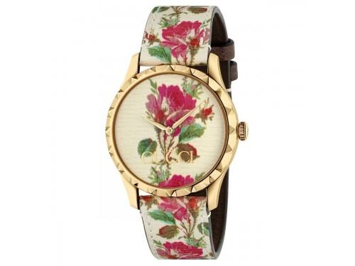 Orologio da Donna Gucci G-Timeless con Quadrante e Cinturino in Pelle con Motivo Floreale