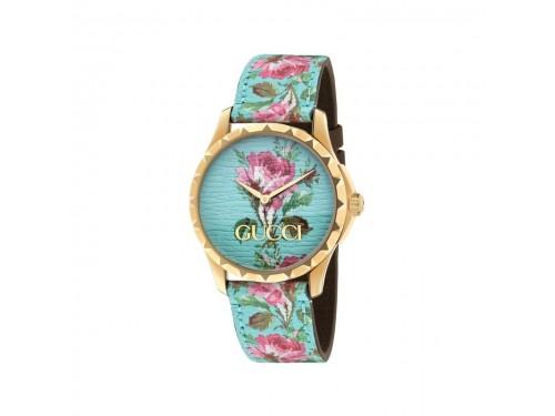 Orologio donna Gucci G-Timeless con Quadrante e Cinturino in Pelle Celeste con Motivo Floreale