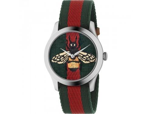 Orologio Gucci Le Marché des Merveilles con Cinturino in Nylon Rosso e Verde