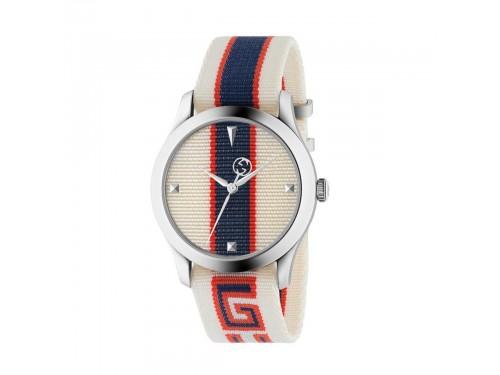 Orologio Gucci G-Timeless con Quadrante e Cinturino in Nylon Bianco-Rosso-Blu
