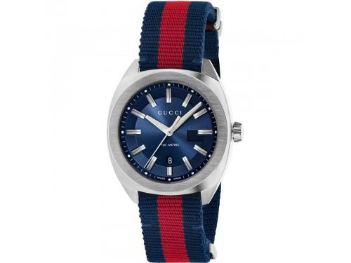 Orologio Gucci G-Timeless in Acciaio con Cinturino in Tessuto con Motivo Web Rosso-Blu