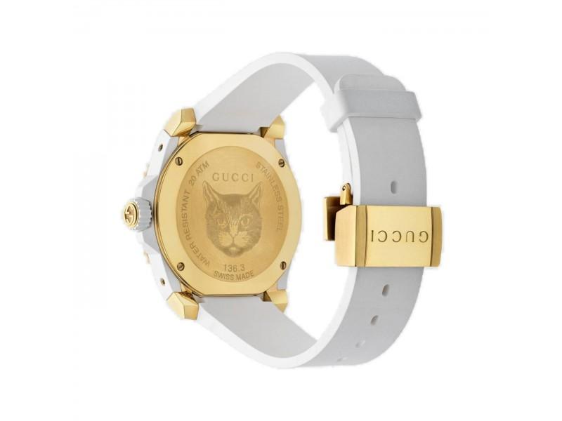Orologio donna Gucci Dive con testa di felino e cinturino bianco