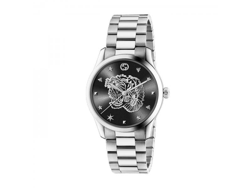 Orologio al quarzo Gucci G-Timeless 38mm con quadrante nero e Tigre argento