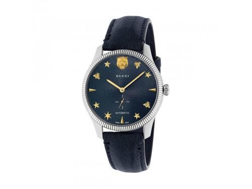 Orologio automatico Gucci G-Timeless in acciaio e pelle blu