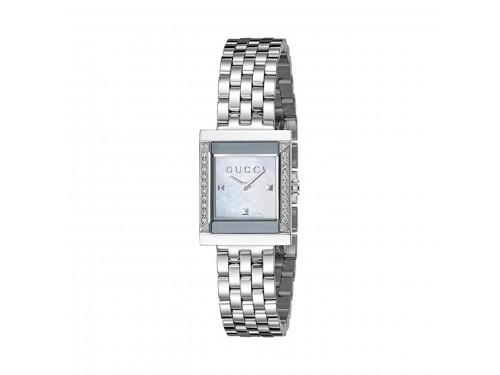Orologio al quarzo Gucci G-Frame quadrante in madreperla e diamanti